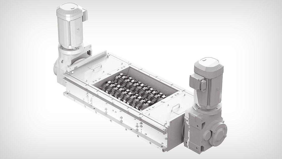 Дробильная установка ZVDD-J - с двумя валами с двусторонними лезвиями и двойным приводом