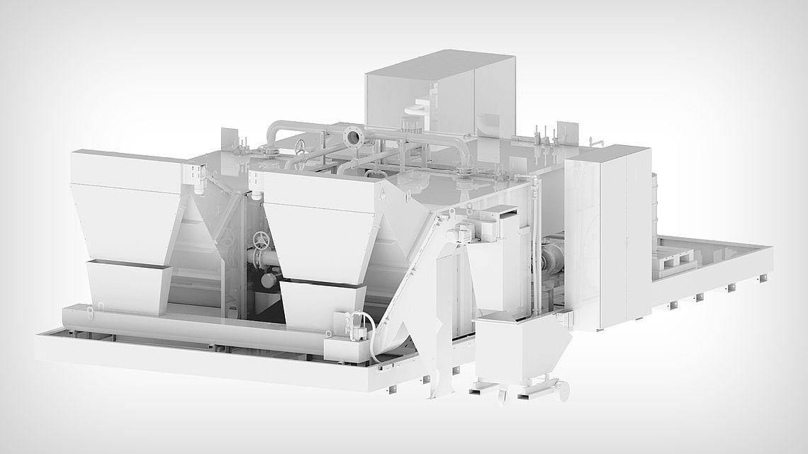 Двойной вакуумный ротационный фильтр с собирающим транспортёром для совместного удаления стружки.