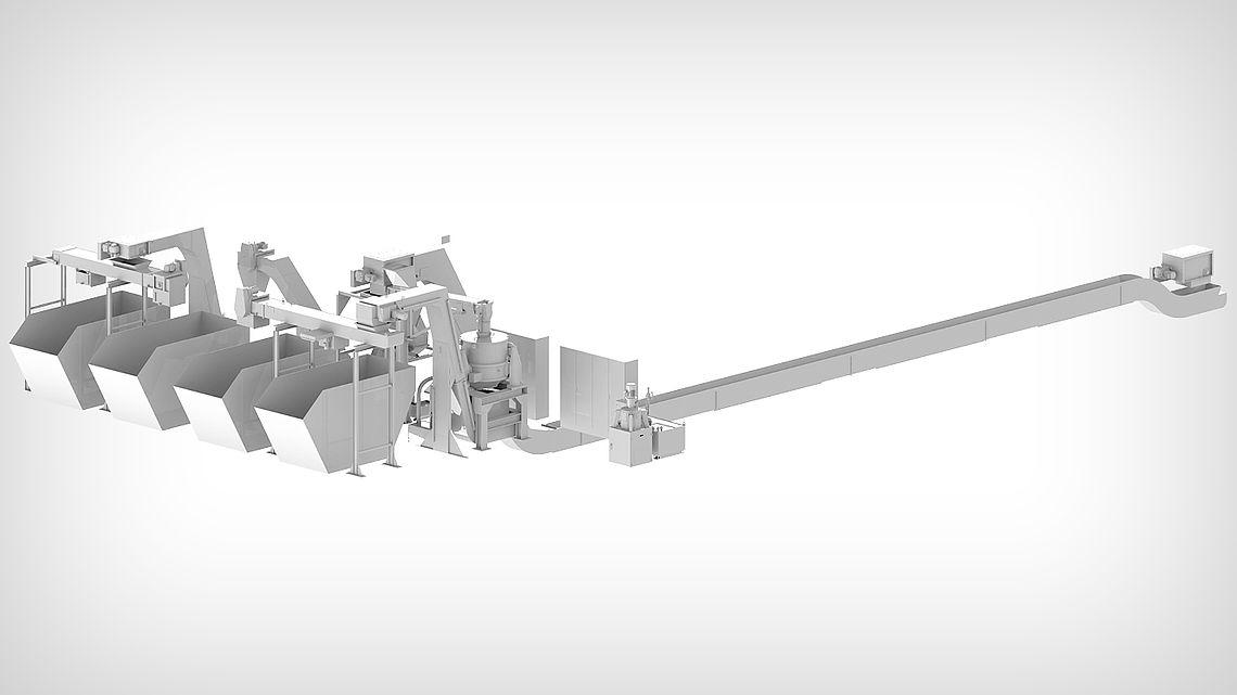 Собирающий транспортёр с выгрузкой в винтовой транспортёр для непрерывного дозирования стружки, сушка стружки в центрифуге, распределение по четырем контейнерам.