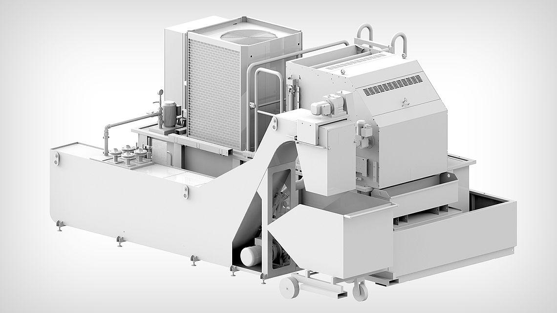 Стружкотранспортёр для предварительного отделения стружки и компактный ленточный фильтр для фильтрования.