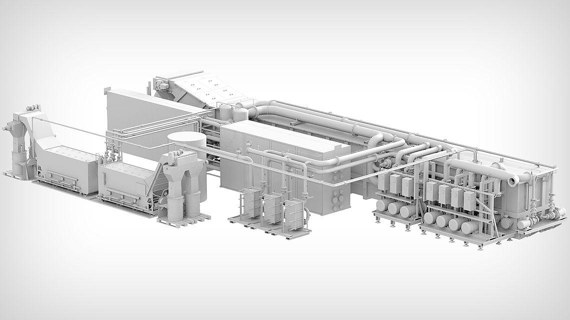 Центральная установка сверхтонкой фильтрации со сборным резервуаром и двумя автоматическими концентраторами в качестве автоматических фильтров осадка.