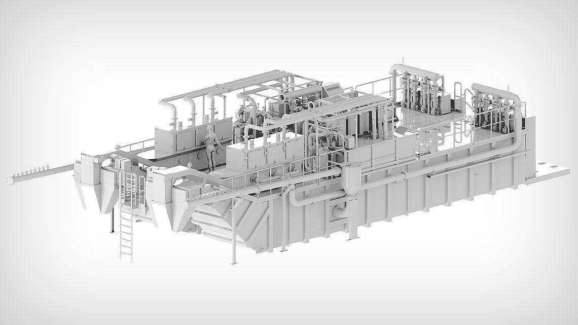 Центральная фильтровальная установка с фильтрацией через гидроциклонные установки и компактные фильтры в качестве обходных.