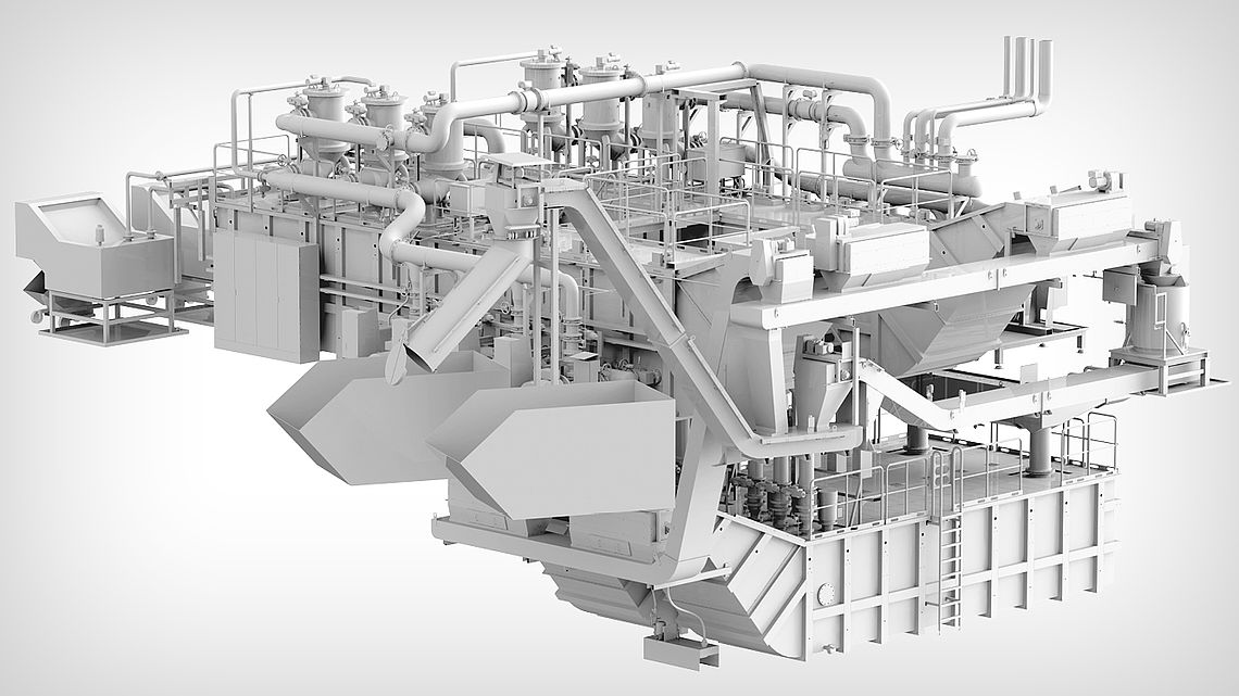 Центральная фильтровальная установка с четырьмя резервуарами для очистки от шлама, восстановительной обработкой и удалением стружки.
